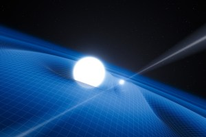 An artist's impression of a pulsar and its white dwarf companion. Caption and credit: esoastronomy/Flickr, CC BY 2.0