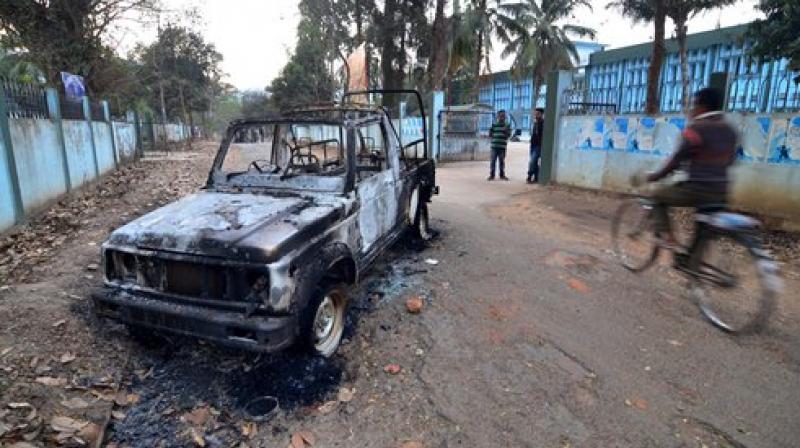 A damaged police vehicle at Resubelpara, Meghalaya. Credit: PTI