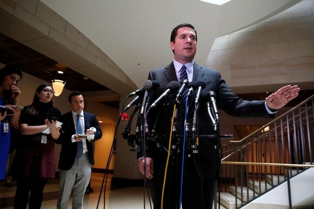 US House Permanent Select Committee on Intelligence chairman representative Devin Nunes (R-CA) briefs reporters at the US Capitol in Washington, US, March 24, 2017. Credit: Reuters