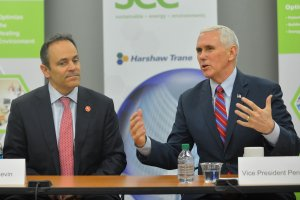 US vice president Mike Pence, sitting with Kentucky governor Matt Bevin, discusses the American Health Care Act during a meeting with local business leaders at the Harshaw-Trane Parts and Distribution Center in Louisville, Kentucky, US, March 11, 2017. Credit: Reuters/Bryan WoolstonUS vice president Mike Pence, sitting with Kentucky governor Matt Bevin, discusses the American Health Care Act during a meeting with local business leaders at the Harshaw-Trane Parts and Distribution Center in Louisville, Kentucky, US, March 11, 2017. Credit: Reuters/Bryan Woolston