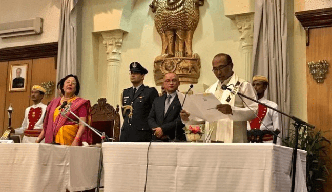 N. Biren Singh being administered the oath of office by governor Najma Heptullah. Credit: ANI screengrab/Twitter