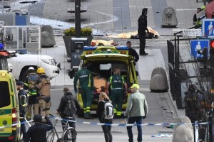 People were killed when a truck crashed into department store Ahlens on Drottninggatan, in central Stockholm, Sweden April 7, 2017. Credit: TT News Agency/Fredrik Sandberg/via Reuters