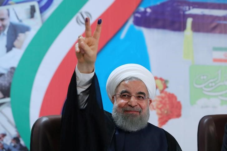 Iran's President Hassan Rouhani gestures as he registers to run for a second four-year term in the May election, in Tehran, Iran, April 14, 2017. Credit: President.ir/Handout via Reuters/File Photo