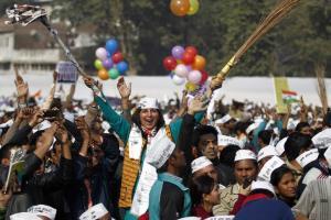 File photo of an AAP rally. Credit: Reuters/Anindito Mukherjee