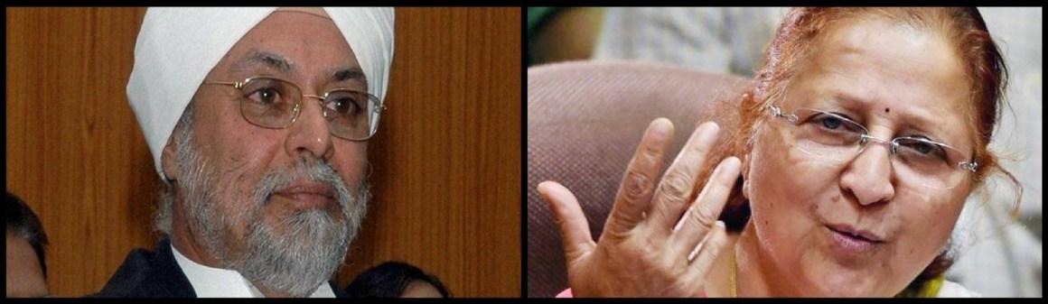 Chief Justice of India Khehar and Lok Sabha Speaker Sumitra Mahajan. Credit: PTI