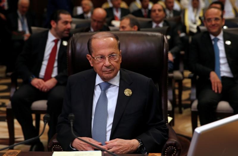 Lebanon's President Michel Aoun attends the 28th Ordinary Summit of the Arab League at the Dead Sea, Jordan March 29, 2017. Credit: Reuters/Mohammad Hamed/Files