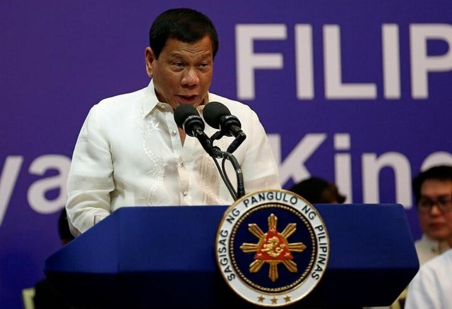 Philippine President Rodrigo Duterte speaks during a meeting with the Filipino community in Riyadh, Saudi Arabia, April 12, 2017. Credit: Reuters/Faisal Al Nasser