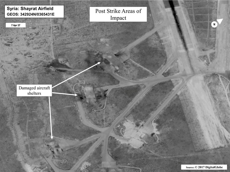 Battle damage assessment image of Shayrat Airfield in Syria. Credit: DigitalGlobe/Courtesy U.S. Department of Defense/Reuters