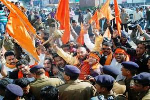 File photo of a Hindu Yuva Vahini rally. Credit: PTI