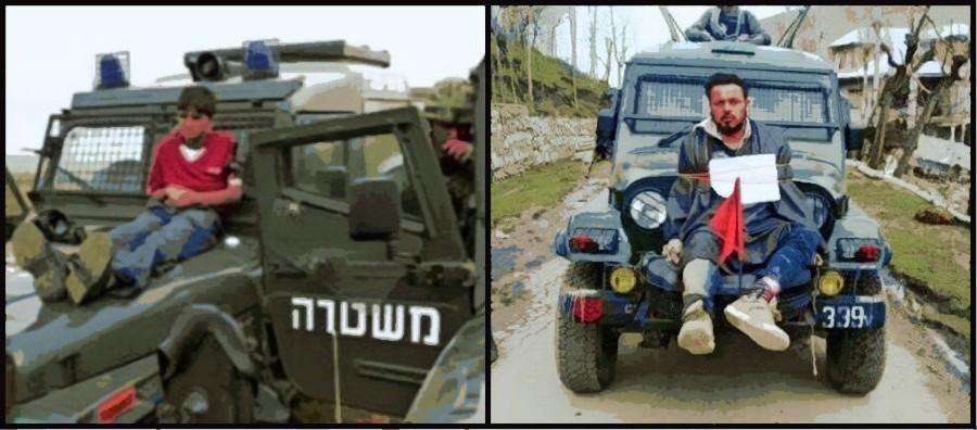 A Palestinian boy strapped to an Israeli army jeep and Farooq Ahmad Dar in Kashmir. Credit: BBC/Video screengrab