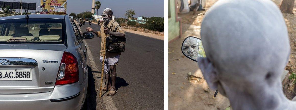 Left: Gangappa travels to fairs and markets in the various villages and towns to earn money. Right: He uses a bike's rear-view mirror, which he found somewhere, to check his make-up and costume. Credit: Rahul M.