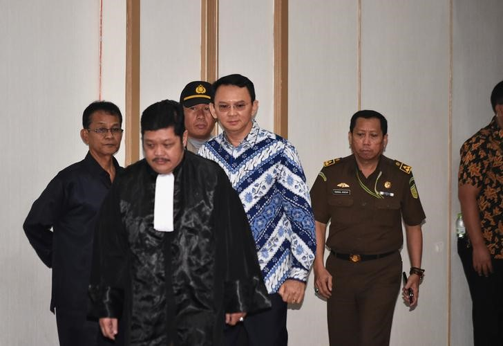 Jakarta's first non-Muslim governor and Chinese-ethnic minority, Basuki Tjahaja Purnama also known as Ahok, arrives in court for his verdict in Jakarta, Indonesia May 9, 2017. Credit: Reuters/Bay Ismoyo/Pool/Files