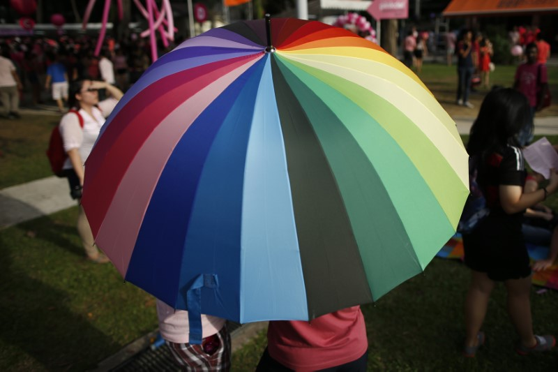 Participants shield themselves from the sun under a rainbow-coloured umbrella before taking part in the forming of a giant pink dot at the Speakers' Corner in Hong Lim Park in Singapore in this file photo dated June 28, 2014. Credit: Reuters/Edgar Su/Files