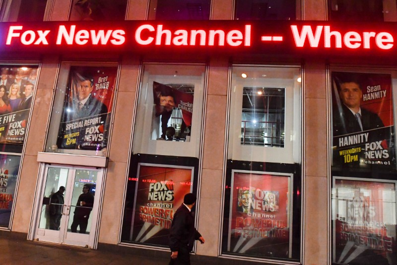 An empty window is seen where the poster of former cable news host Bill O'Reilly was removed from the Fox News Channel offices in Manhattan, New York City, New York, US, April 20, 2017. Credit: Reuters/Rashid Umar Abbasi