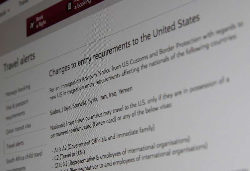 A picture of the travel advisory page of Qatar Airways advising passengers bound for the US from seven newly banned majority Muslim countries that they need to have either a US green card or diplomatic visa, January 28, 2017 in London, Britain. Picture taken January 28, 2017. Credit: Reuters/Russell Boyce