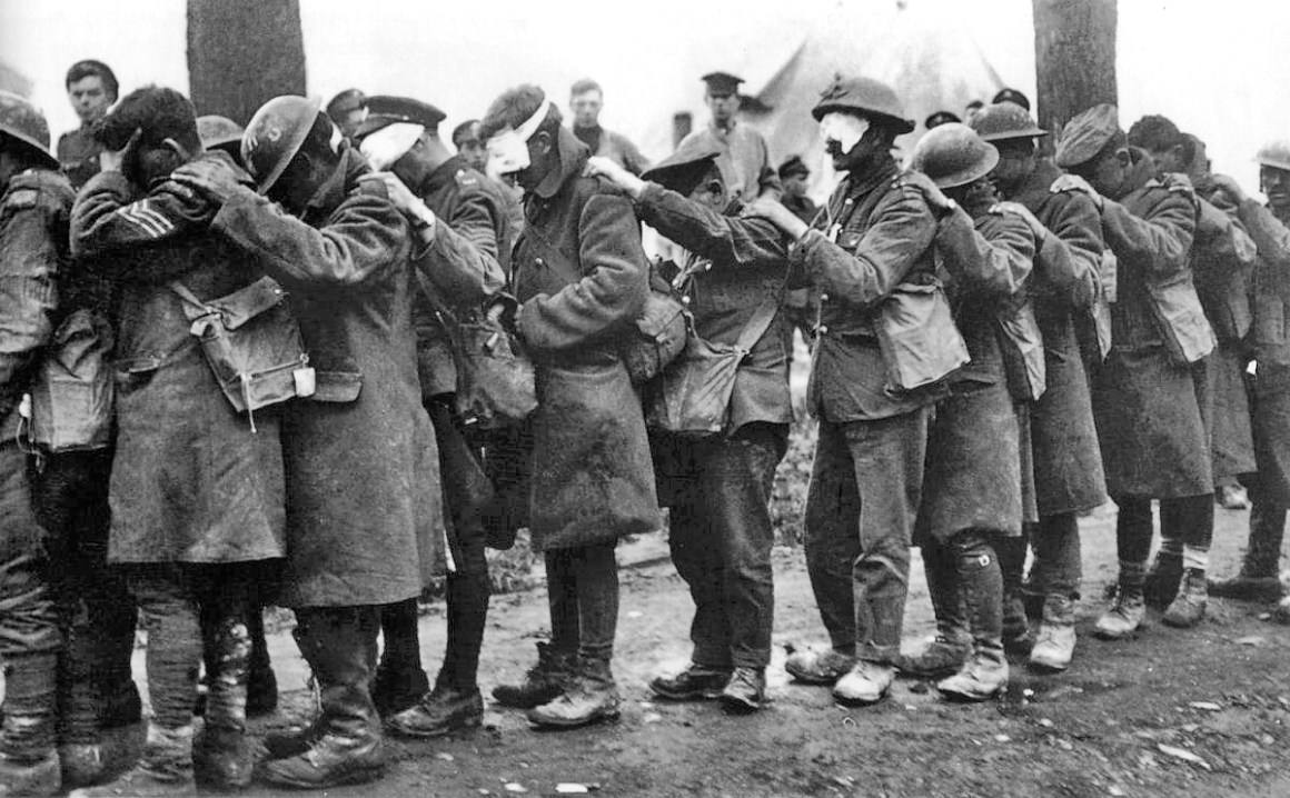 British 55th Division gas casualties 10 April, 1918 Credit: Wikimedia Commons