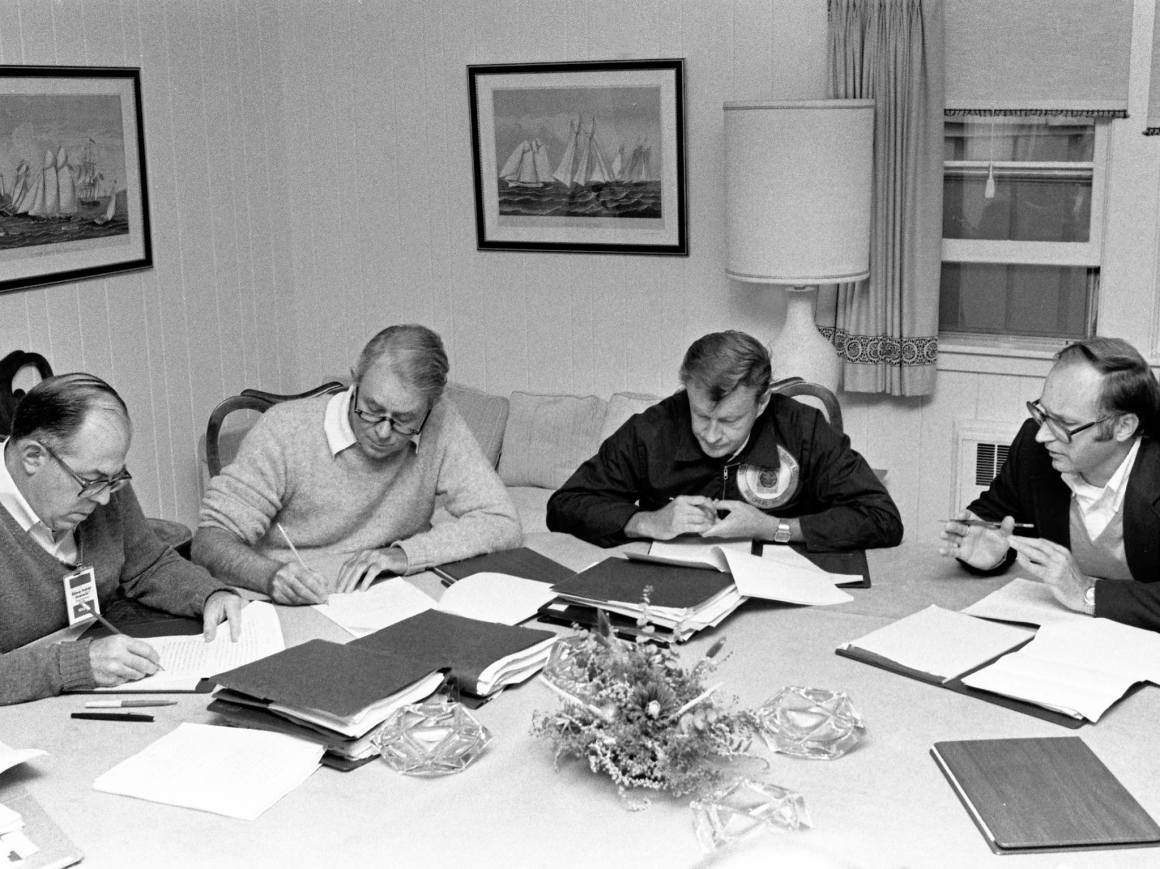 Vance and Brzezinski at Camp David, September 14, 1978. Courtesy: Jimmy Carter Library