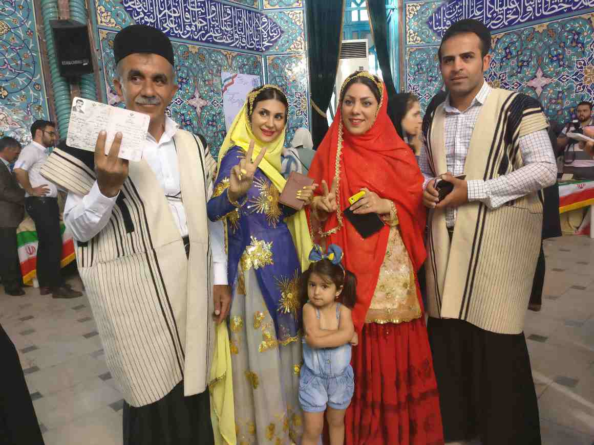 A Bakhtiari family in their traditional finery at Tehran's 'celebrity' polling station of Hosseinieh Ershad. Credit: Devirupa Mitra