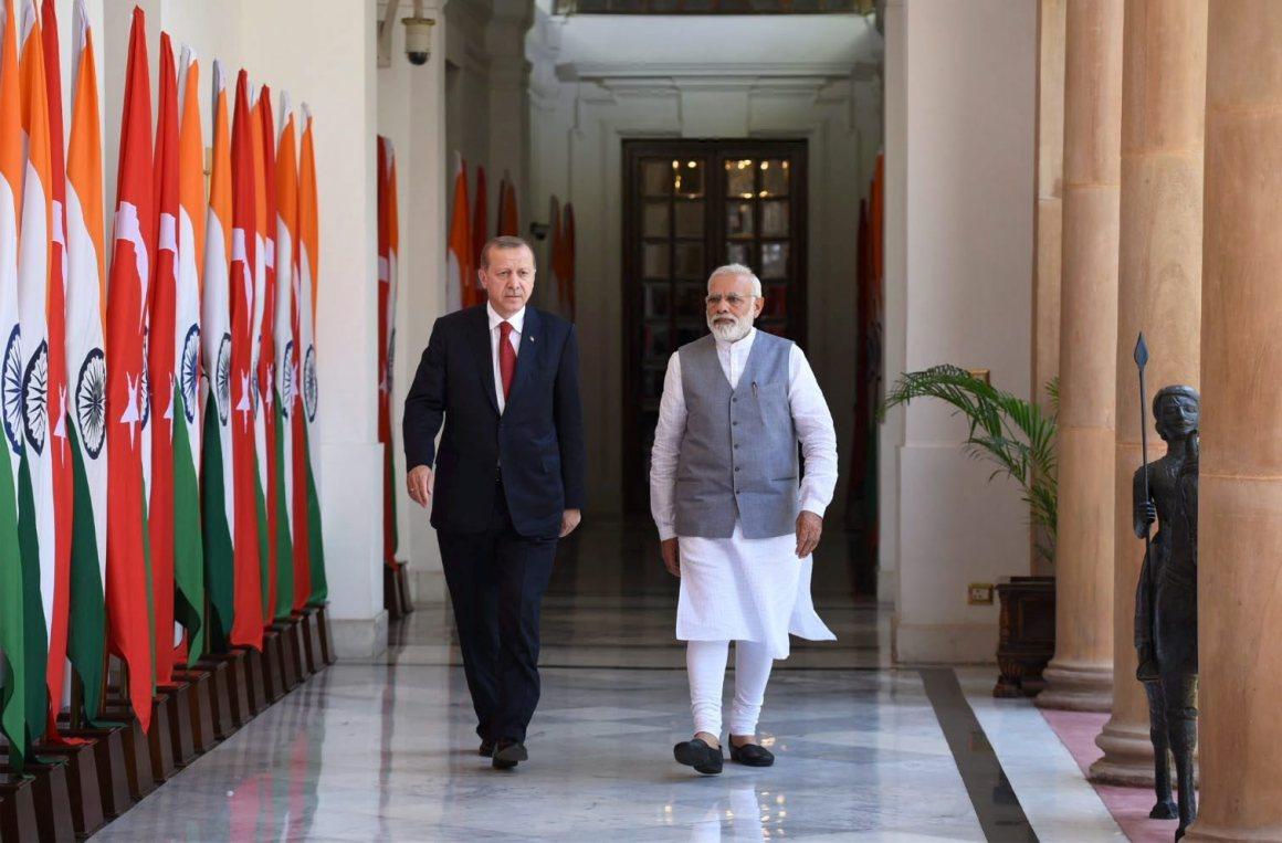 Prime Minister Narendra Modi with Turkish President Recep Tayyip Erdogan at Hyderabad House in New Delhi on Monday. Credit: PTI/PIB