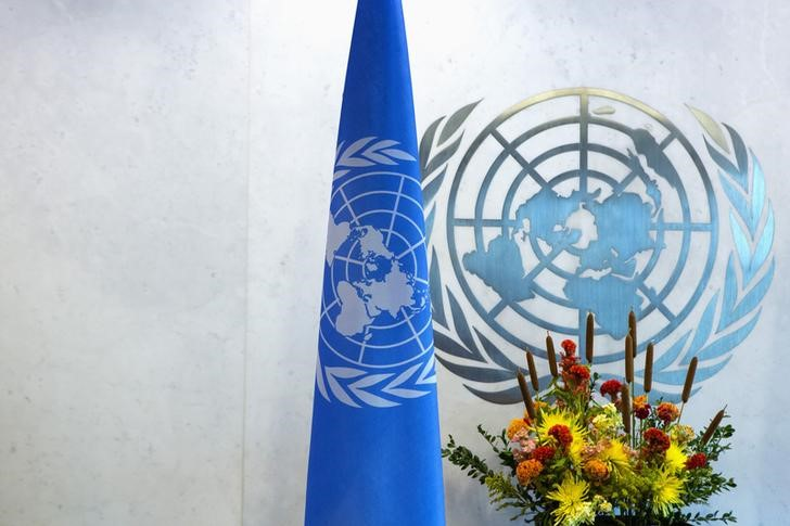 A UN logo and flag are seen during the UN General Assembly at UN Headquarters in New York September 25, 2013. Credit: Reuters/Eric Thayer