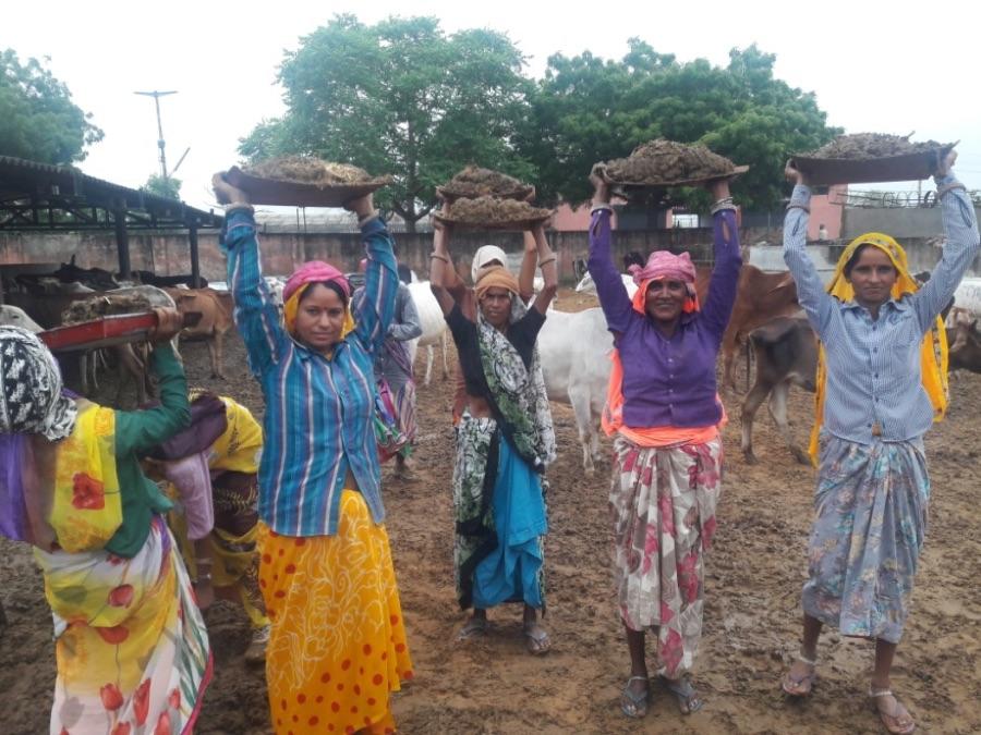 Aggrieved gaushala workers. Credit: Shruti Jain