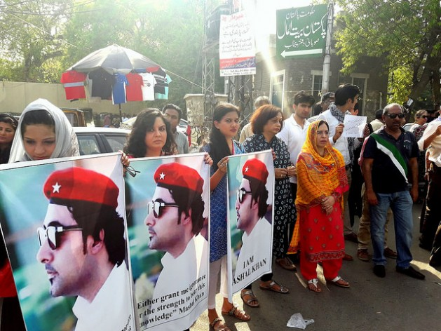 A protest in Karachi over the lynching of Mashal Khan. Credit: Abida Ali/IPS