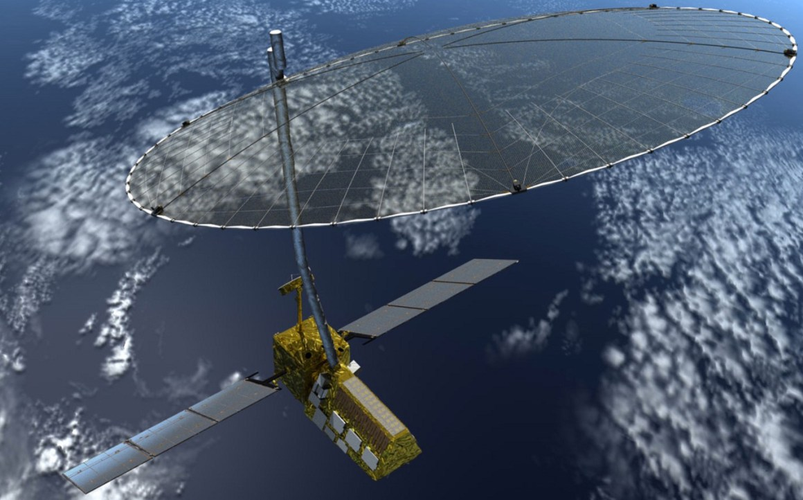 An artist's impression of the NASA-ISRO Synthetic Aperture Radar (NISAR) satellite. Credit: JPL/NASA