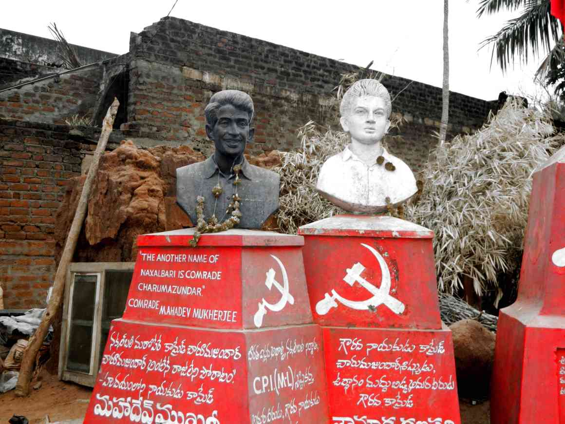 A statue of Charu Mazumdar, leader of the Community Party of India (Marxist-Leninist), in a Srikakulam village. Credit: M. Suchitra