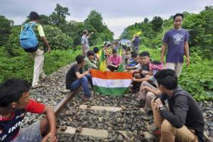 Agartala Indigenous People Front of Tripura IPFT and other tribal wings go on a road and rail blockade movement to demand a separate state- Tipraland in the outskirts of Agartala. Credit: PTI