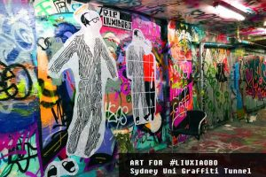 A new art site for #LiuXiaobo in #SydneyUniversity Graffiti Tunnel. Credit: @badiucao