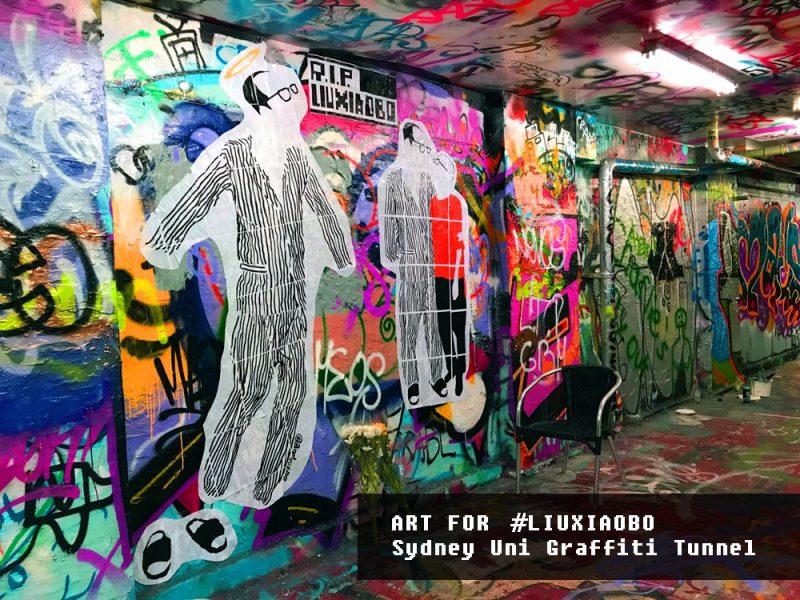 A new art site for #LiuXiaobo in #SydneyUniversity Graffiti Tunnel. Credit: @badiucao