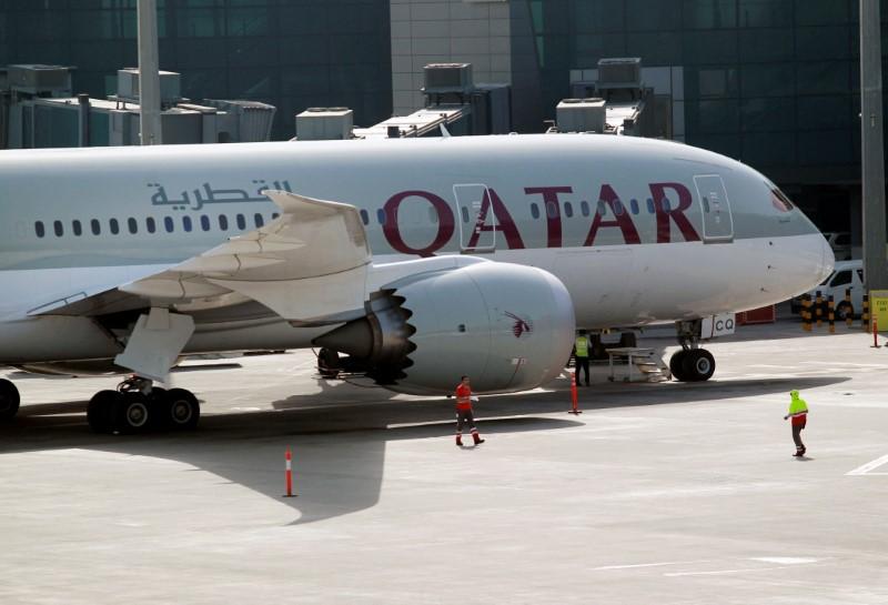 A Qatar Airways aircraft is seen at Hamad International Airport in Doha, Qatar, June 7, 2017. Credit: Reuters/Naseem Zeitoon/Files