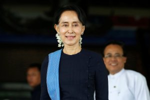 Myanmar's foreign minister Aung San Suu Kyi smiles after a meeting with Norway's foreign minister Borge Brende (not in picture) at Myanmar's Foreign Ministry in Naypyitaw, Myanmar, July 6, 2017. Credit: Reuters/Soe Zeya Tun