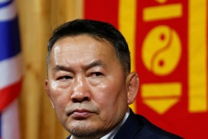 Khaltmaa Battulga, addresses reporters in Ulaanbaatar, Mongolia, early July 8, 2017. Credit: Reuters/B. Rentsendorj