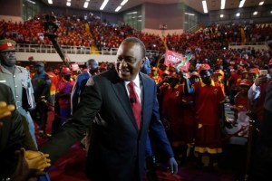 Kenya's President Uhuru Kenyatta arrives to the an event unveiling the Jubilee Party's manifesto in Nairobi, Kenya June 26, 2017. REUTERS/Baz Ratner
