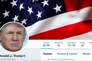 The masthead of US President Donald Trump's @realDonaldTrump Twitter account is seen on July 11, 2017. Credit @realDonaldTrump/Handout via Reuters