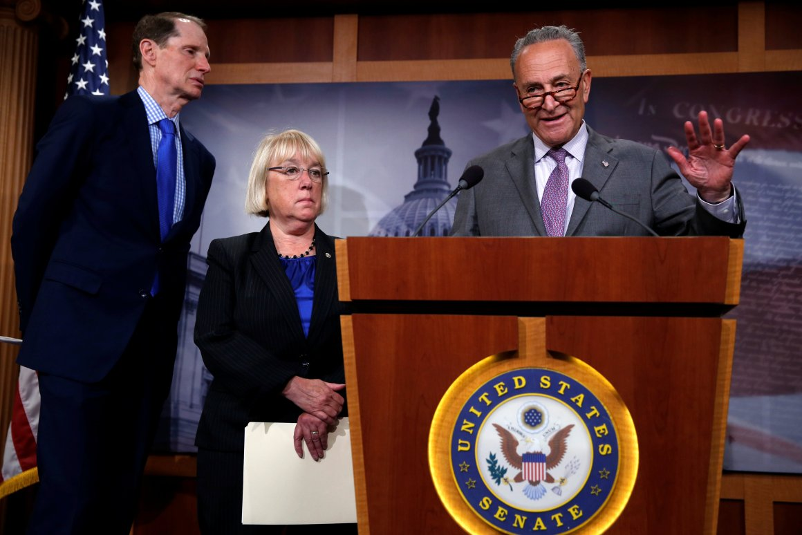 US senate minority leader Chuck Schumer (D-NY) (R), senator Ron Wyden (D-OR) (L) and senator Patty Murray (D-WA) (2nd L) react to Senate Republicans' revamped proposal to replace Obamacare health care legislation at the US Capitol in Washington, US July 13, 2017. Credit: Reuters/Jonathan Ernst
