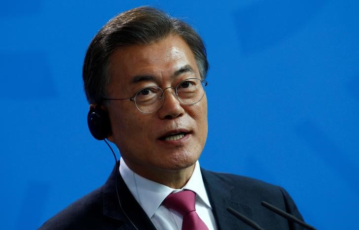 South Korean President Moon Jae-in attends a news conference in Berlin, Germany July 5, 2017. Credit: Reuters/Michele Tantussi