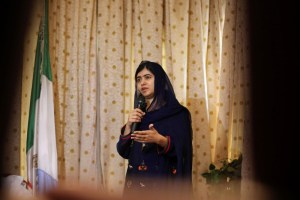 Nobel laureate Malala Yousafzai speaks during her visit to Maiduguri, Nigeria, July 18, 2017. Credit: Reuters/Afolabi Sotunde
