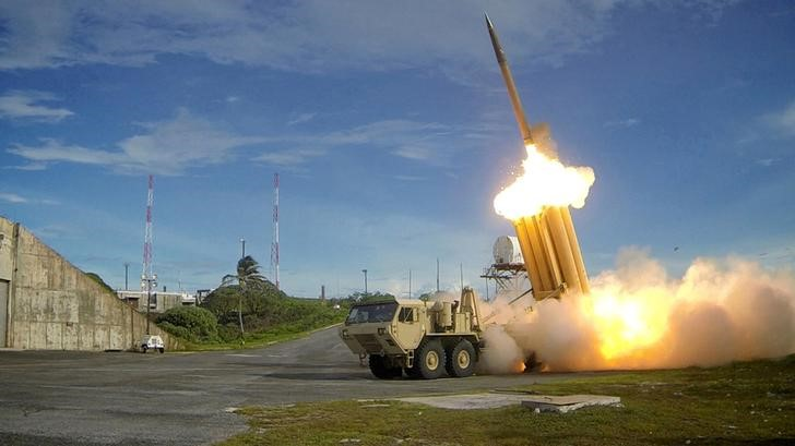 A Terminal High Altitude Area Defense (THAAD) interceptor is launched during a successful intercept test, in this undated handout photo provided by the U.S. Department of Defence, Missile Defence Agency. U.S. Department of Defence, Missile Defence Agency/Handout via Reuters/Files