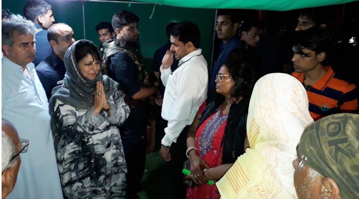 Mehbooba Mufti in the Anantnag district hospital on the day of the attack on Amarnath pilgrims. Credit: Special arrangement