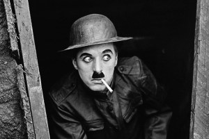 Charlie Chaplin in action.