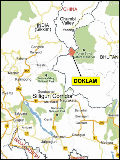 Indian sketch map of the Doklam region. Credit: By special arrangement