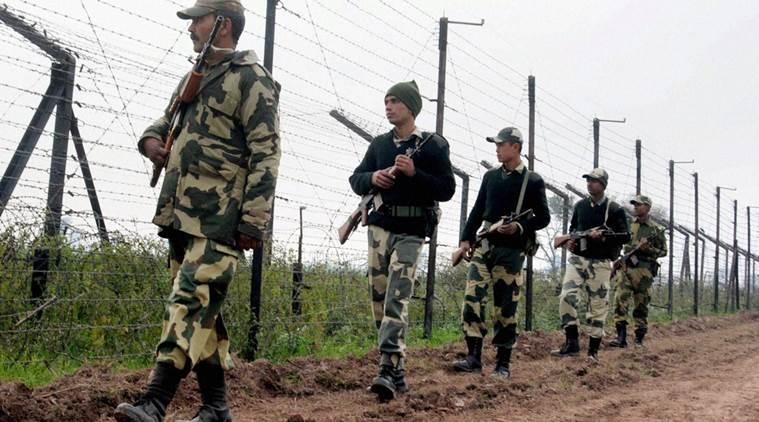 Soldiers patrolling the India-Bangladesh border. Credit: PTI