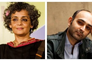 Left: Arundhati Roy. Credit: Wikimedia. Right: Mohsin Hamid. Credit: Twitter