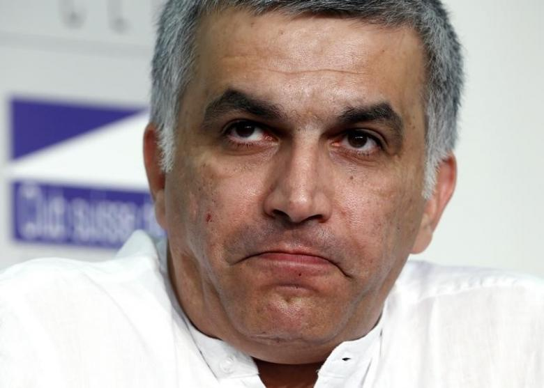 Nabeel Rajab, president of the Bahrain Center for Human Rights, pauses during a conference at the Swiss Press Club in Geneva June 18, 2014. Credit: Reuters/Denis Balibouse