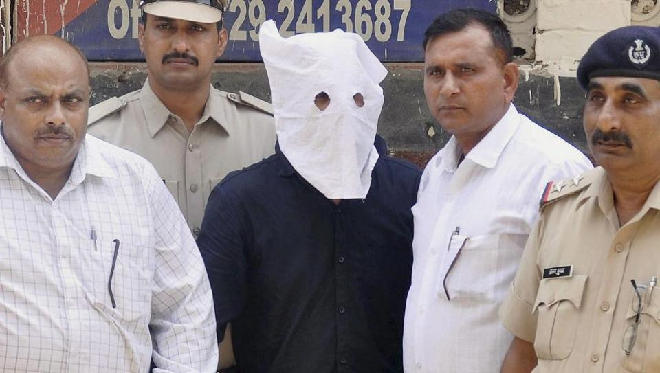 The main accused in Junaid Khan lynching case, before being produced in district court Faridabad on Sunday. Credit: PTI