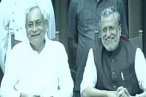 Bihar chief minister Nitish Kumar with deputy chief minister Sushil Modi. Credit: ANI/Twitter