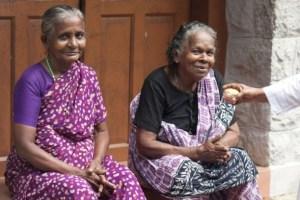 Women sitting in front of an old age home in Kanyakumari district in Tamil Nadu, India. Credit: K. S. Harikrishnan/IPS