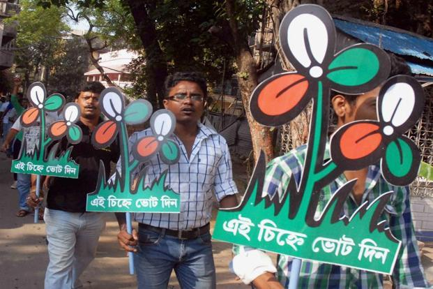 Trinamool Congress workers take part in an election campaign. Credit: PTI